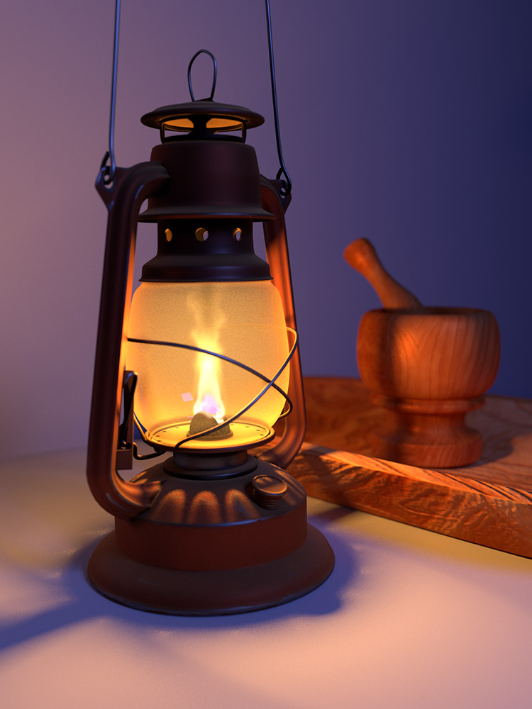 Blender Kerosene Lamp with dirt, dust, and Fire/Smoke Simulation by Jason Gilliam