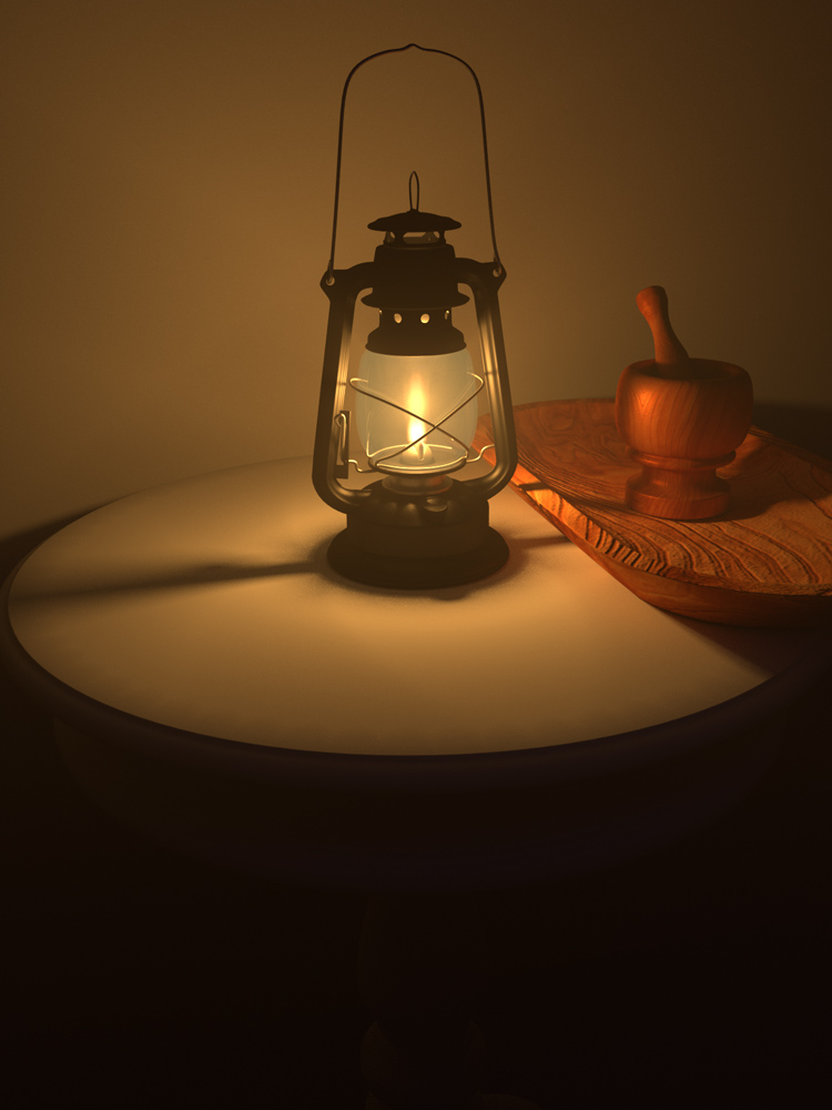 Blender Kerosene Lamp with Volumetric Lighting and Fire/Smoke Simulation by Jason Gilliam
